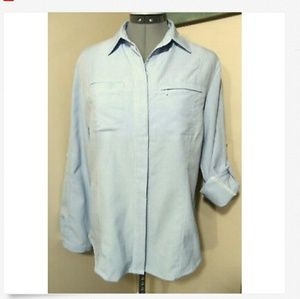 WOOLRICH Button Shirt S Blue embroidered Tab sleev